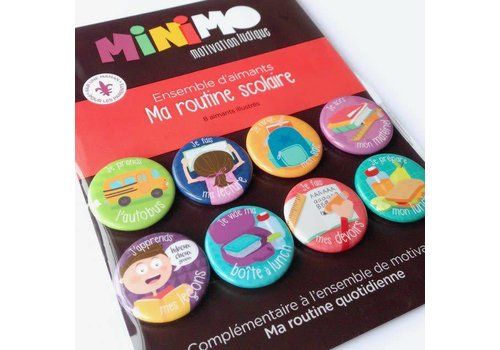 Minimo Ensemble d'aimants Ma routine scolaire