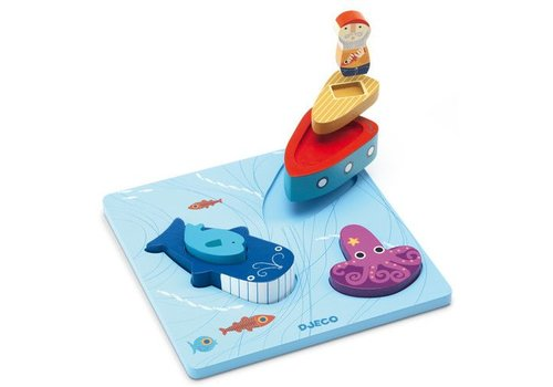 Djeco Wooden Puzzle / 1,2,3 Moby