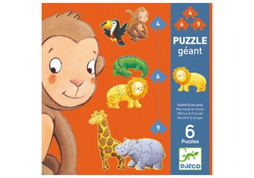 Djeco Puzzle géant / Ouistiti et ses amis/4,6,9 pcs