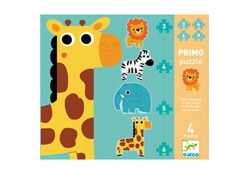 Djeco Primo puzzle / Dans la jungle / 3,4,5,6 pcs