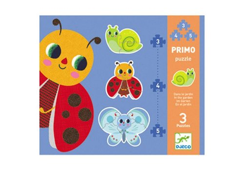 Djeco Primo puzzle/Dans le jardin/3,4,5 pcs