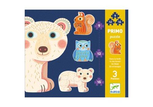 Djeco Primo puzzle / Dans la foret / 9,12,16 pcs