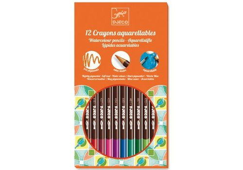 Djeco 12 crayons aquarellables