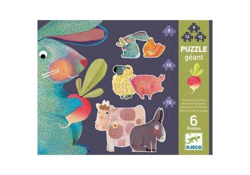 Djeco Puzzle Géant / Pissenlit et ses amis / 9, 12, 15 pcs