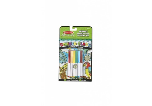 Melissa & Doug Bloc à colorier vitrail animaux - Stained Glass Coloring Pad Animals