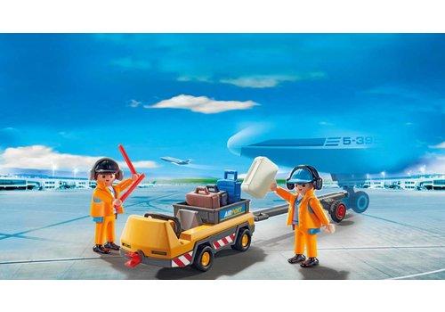 Playmobil Remorqueur d'avion avec equipage au sol*