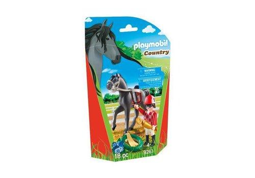 Playmobil Jockey avec cheval de course *