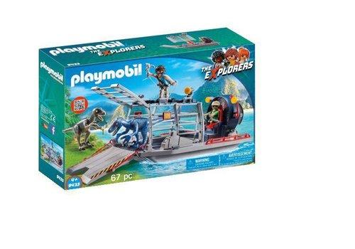 Playmobil Bateau avec cage et deinonychus