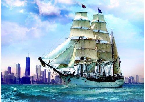 trefl Le voilier sur le fond de Chicago