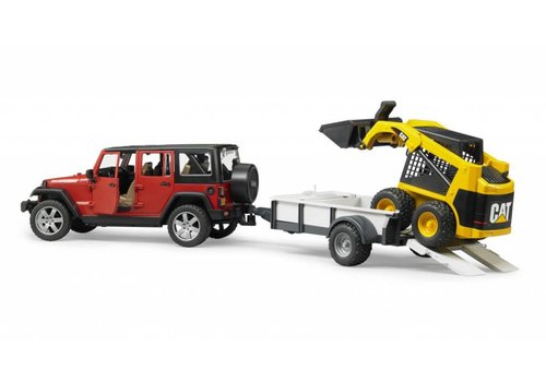 Bruder Jeep Wrangler Rubicon w trailer and CAT