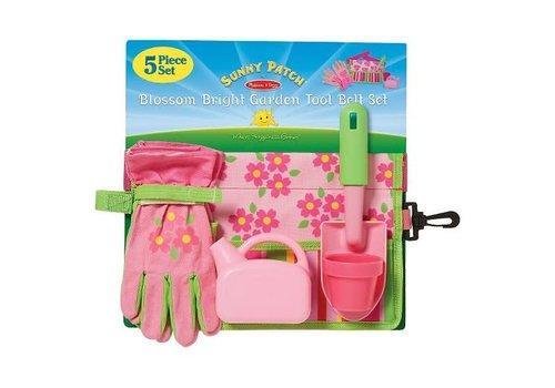 Melissa & Doug Ensemble de ceinture et outils à jardinage Fleurs en fête - Blossom Bright Garden Tool Set