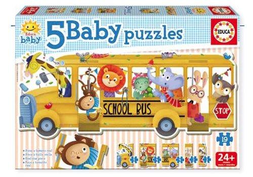Educa-Borras 5 Casse-têtes Baby puzzles Autobus scolaire