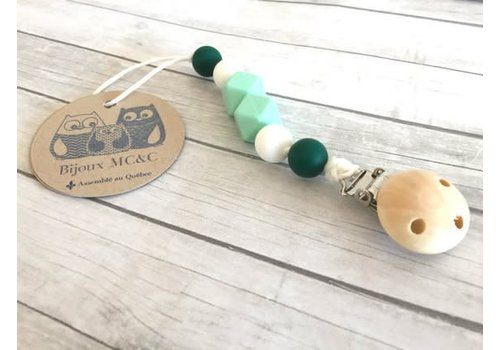 Bijoux MCC Attache-suce Chardonneret Vert menthe-Vert forêt- Blanc