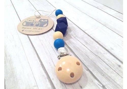 Bijoux MCC Attache-suce Chardonneret Vanille-Bleu français-Bleu marine