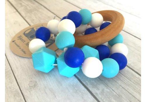 Bijoux MCC Jouet de dentition Oriole Bleu azur-Bleu ultramarin-Blanc