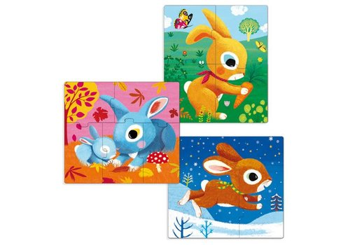 Djeco Primo Puzzle / Lapins / 3,4,5 pcs