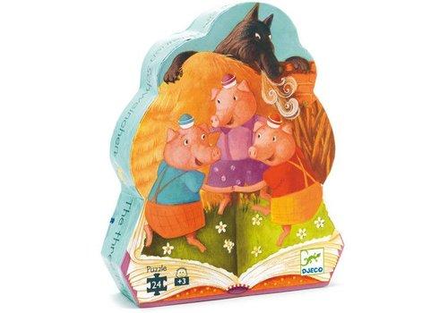 Djeco Puzzle silhouette / 3 petits cochons / 24 morceaux