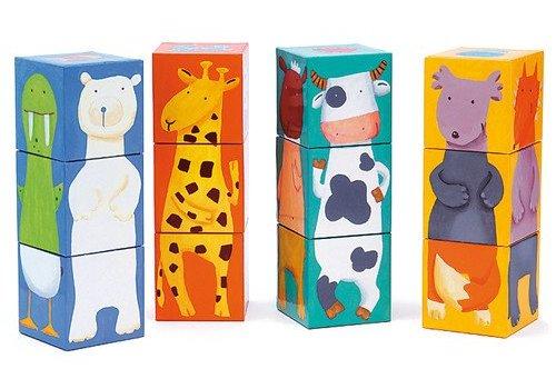 Djeco 12 cubes / Animaux couleurs