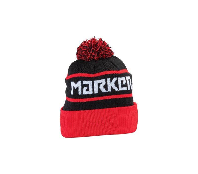 Marker PomPom Beanie - Black/Red