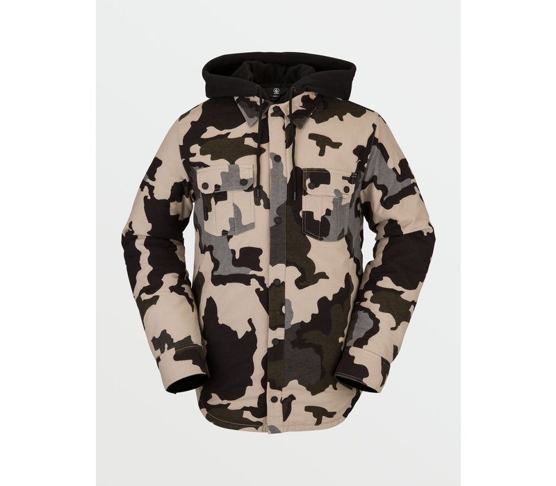 Volcom Men's Field Insulated Flannel Jacket - Drill Khaki - L