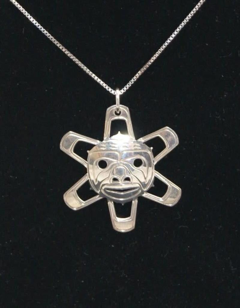 Vincent Henson Sun Mask Silver Necklace