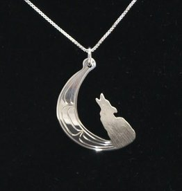 Nancy Dawson Wolf And Moon Silver Necklace
