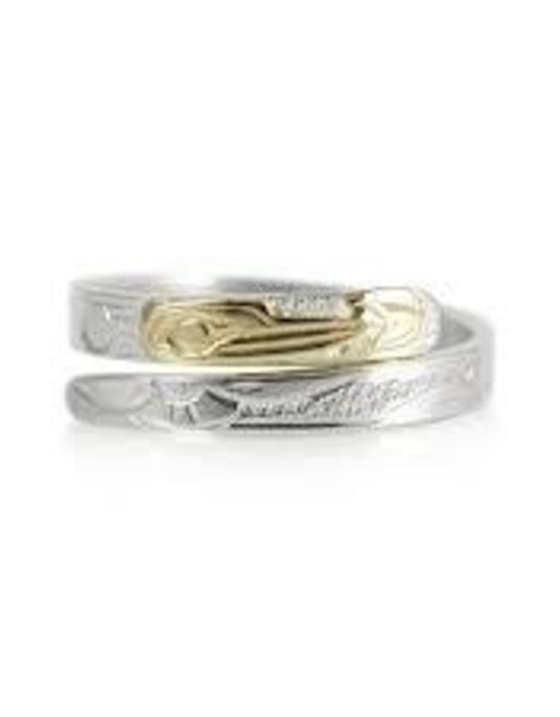 "Harper Victoria 3/8"" Hummingbird Silver and Gold wrap ring"