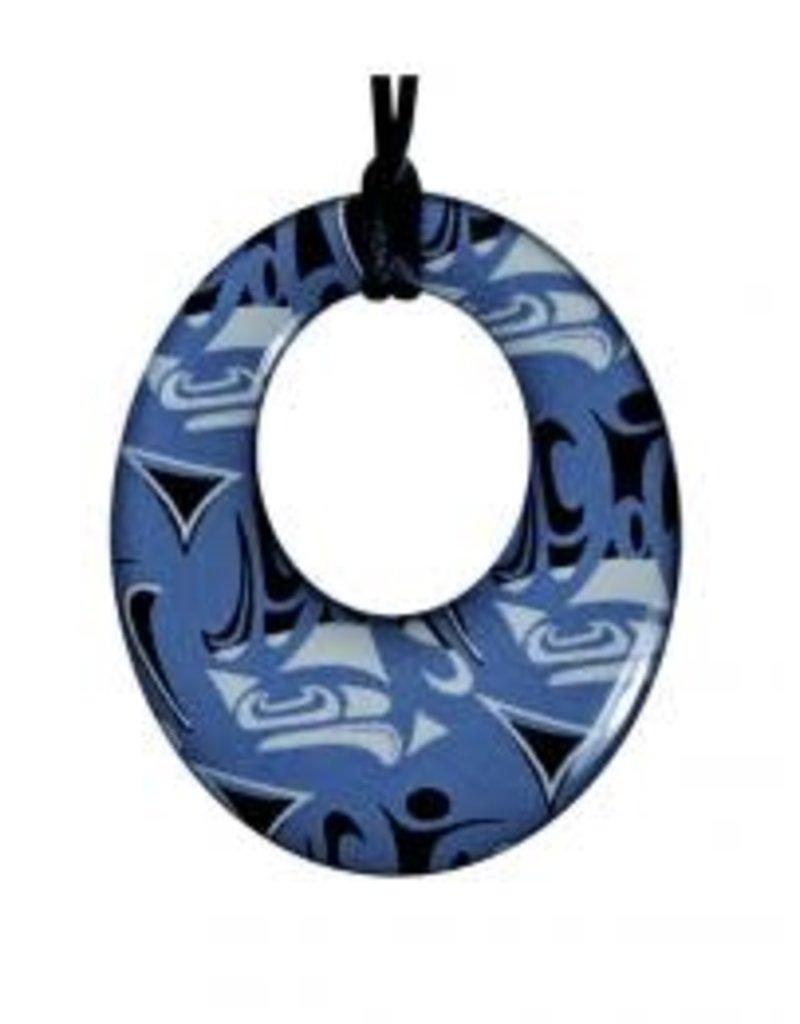Hunt, Corrine Silk Pendant Round Blue