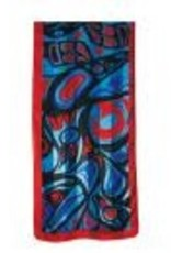 Panabo Sales Raven Poly Satin Scarf Red and Blue