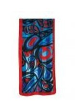 Helin, Bill Raven Poly Satin Scarf Red and Blue