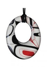 Robinson, Kelly Silk Pendant Red/Black Round