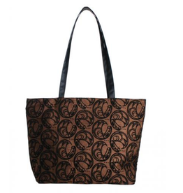 Connie Dickens Raven Brown Zip Tote Bag