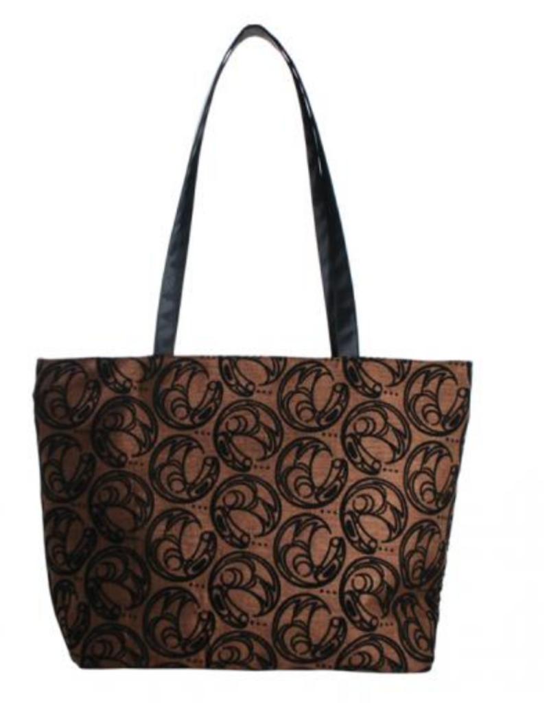Connie Dickens Raven Brown Zip Tote Bag