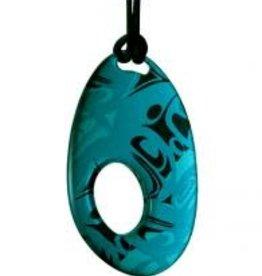 Hunt, Corrine Silk Pendant Oval Turquosie