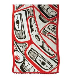Panabo Sales Frog Woven Shawl Black / Red