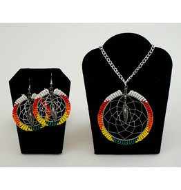 Amber Evans Dream Catcher Beaded Earring & Necklace