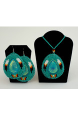 Evans, Amber Beaded Earring and Necklace Set