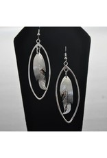 Vincent Henson Feather Oval Silver Earring