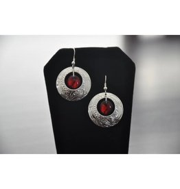 Nancy Dawson Eagle Silver Earring/ Ruby