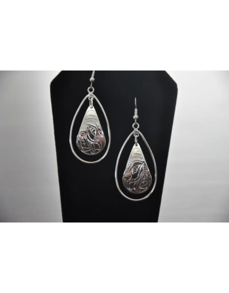 Vincent Henson Teardrop Bear Silver Earring