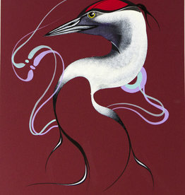 Tobacco, Garnet Sandhill Crane - red background original