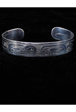 "Harper Victoria Thunderbird and Salmon 1/2"" Silver Bracelets"