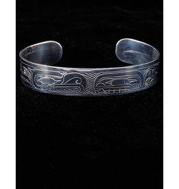 "Harper Victoria Thunderbird & Salmon 1/2"" Silver Bracelets"