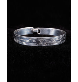 "Harper Victoria Eagle Bear Silver Bangle 3""8"