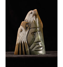 Moose, Howard Eagle Prayer Soapstone Carving
