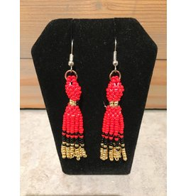 Evans, Amber Red Dress/Gold Beaded Earring