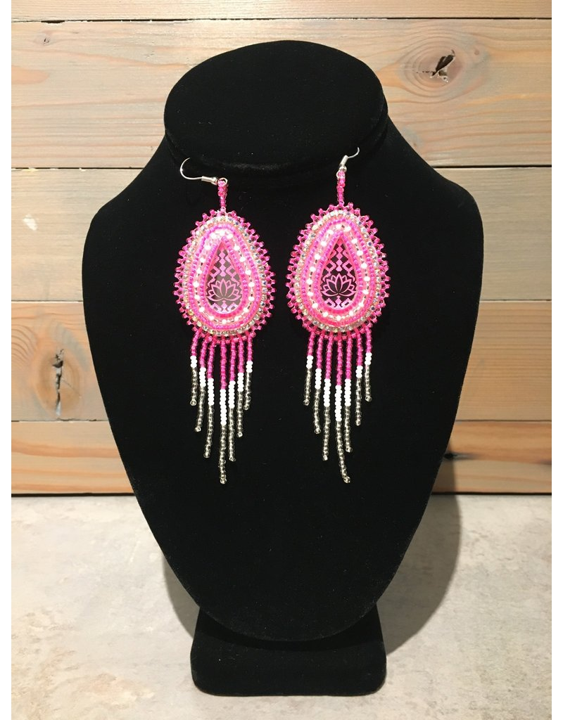 Amber Evans Pink And Silver Beaded Earring