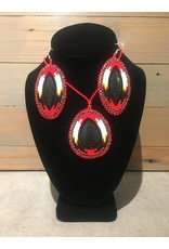 Amber Evans Beaded Set Red And Black