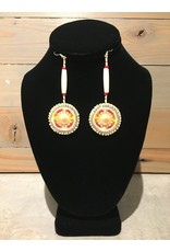 Evans, Amber Beaded Earring White And Gold Round