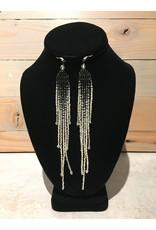 Amber Evans Black & Grey Long Beaded Earring